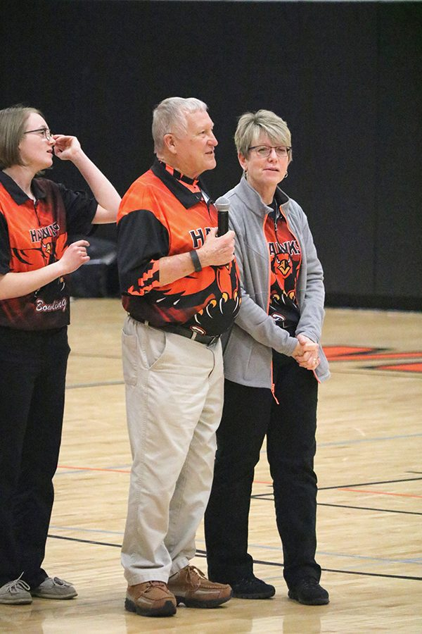 Giving gratitude to Coach Sue Morris, Head Girls' Bowling Coach Ken Boesenberg explains all of the contributions Morris does for the bowling program. Bosenberg earned the IGHSAU's Golden Plaque Award at the state tournament.