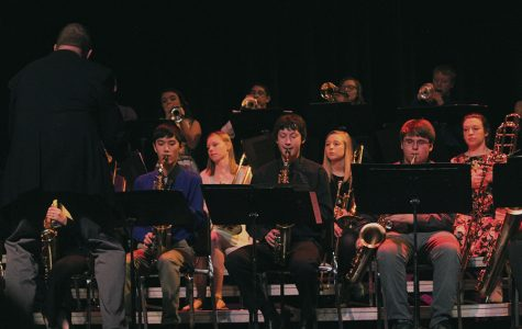 At Swing into Spring, Jazz Band performs one of their four songs. Front Row: Director Mark Philgreen, Jacob Butler, Tanner Kelchen, Colby Samuelson; Row 2; Sarah Weber, Bailey Beckman, Olivia Neuzil; Back Row: Erika Hill, Matthew Salas, Mercedes Riley, Kolin Wright.