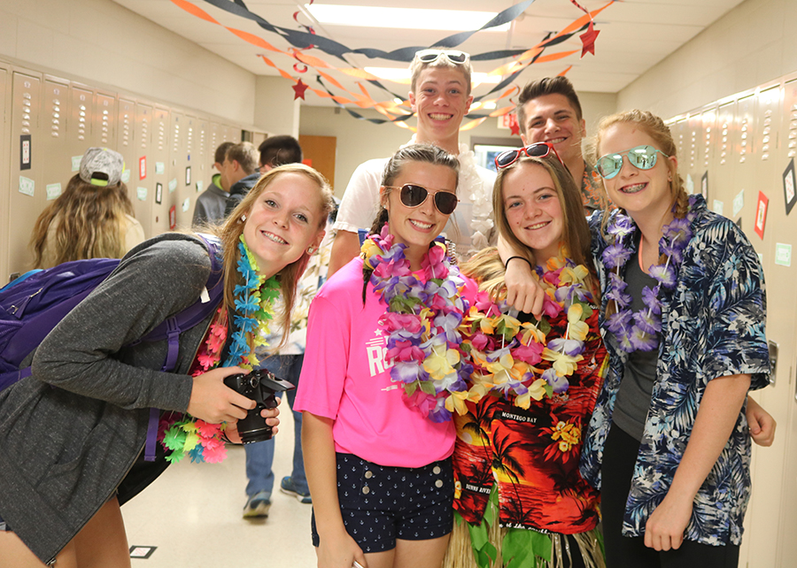 Students enjoyed showing their school spirit during homecoming week. Front: Claire Demmer,  Eva Winn, Mia Peyton, Ava Hauser; Back: Kyle Kelley, Kieran Monaghan.