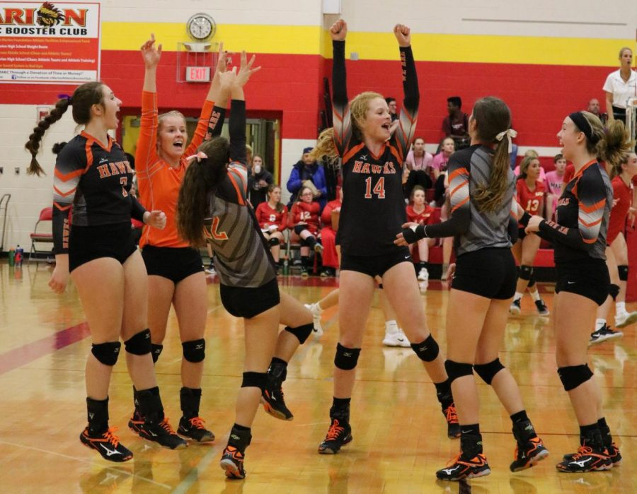 The team celebrates after Ava Hauser (14) earns a point for the Hawks. The Hawks defeated Solon, 25-22, 28-26.