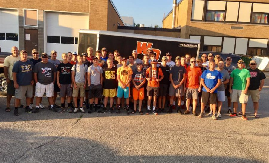 The group of 45 meets in the high school parking lot at six a.m. before leaving for Colorado. It took six vehicles to fit everyone participating in the trip.
