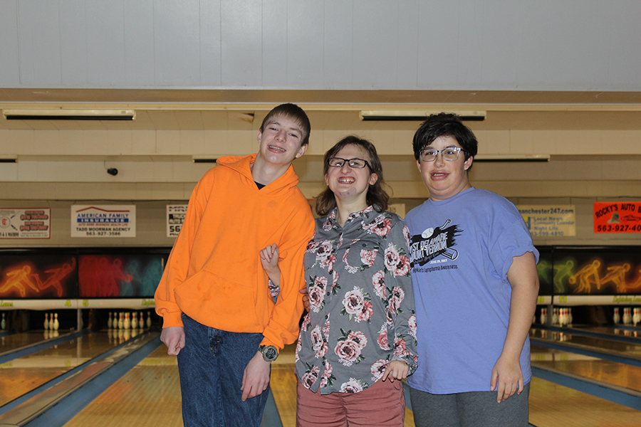 Hunter Slaymaker (10), Rachel Sunne (12), and Shelby DeSotel (12) are a happy trio of bowlers.