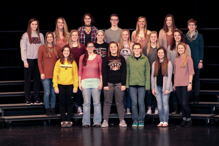 Front Row: Rachel Haight (12), Calasandra Spray (12), Claire Rausch (11), Paris Schaul (12), Andrea Salow (12), Liz Koloc; Row 2: Emma Kehrli, Haley Lyness, Madalynn Burke (12), JoAnna Voss (11), Kira Vaske (12), Annie Cassutt; Back Row: Emily Klostermann (11), Anna Thole, Ashley Goebel, Holden Smith (12), Kara Hawker, Lea Boies, Helen Temeyer.