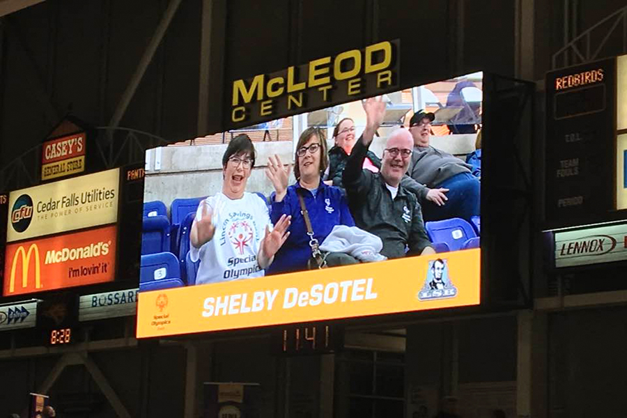 During the game, DeSotel and her parents were highlighted on the big screen.