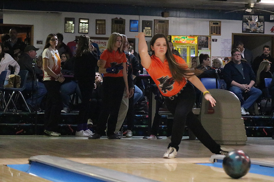 Bowling against Marion, senior Andrea Salow sends the ball rolling down the lane.