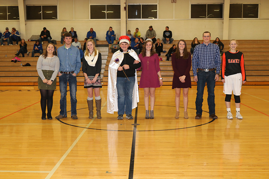 The 2018 Sweetheart Court: Claire Rausch, Adam Monaghan, Macy Loecke, Alex Zumbach, Leah Philipp, Tehya Demmer, Jim Drummy and Georgie Hilby.