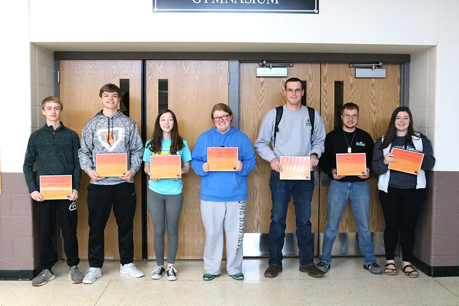 March Career Ready Students of the Month:  Luke Farmer (10), Tyler Traver (10), Lacey Cole (10), Erica Quint (10), Jim Drummy (11), Boudy Ross (12) and Hallie Wenger (9). Not pictured: James Shover (12).