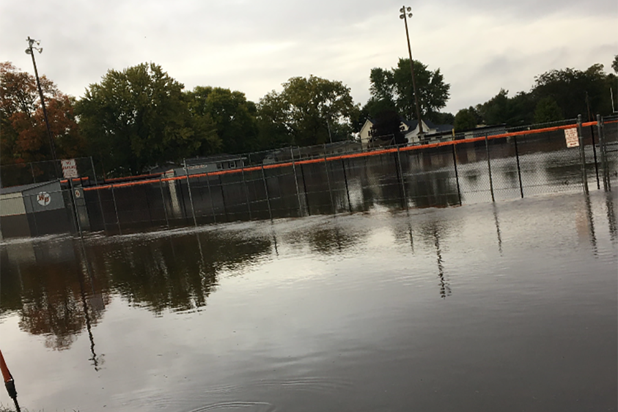 Oct. 1, West Delawares football field and softball diamond flood from excessive rain. Water rose way above what the dry-run could hold.