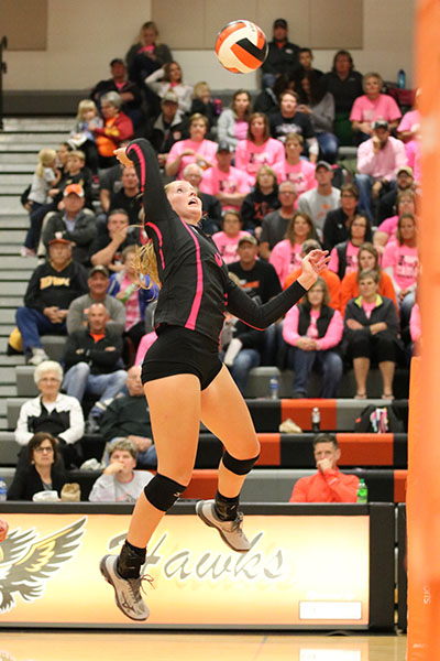 Claire+Demmer+%2812%29+jumps+to+spike+the+ball+over+the+net.+Demmer+lead+the+team+in+kills+with+12.