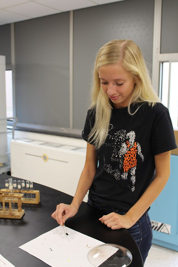 Kaci Tutton (11) takes part in a experiment in the new chemistry lab.