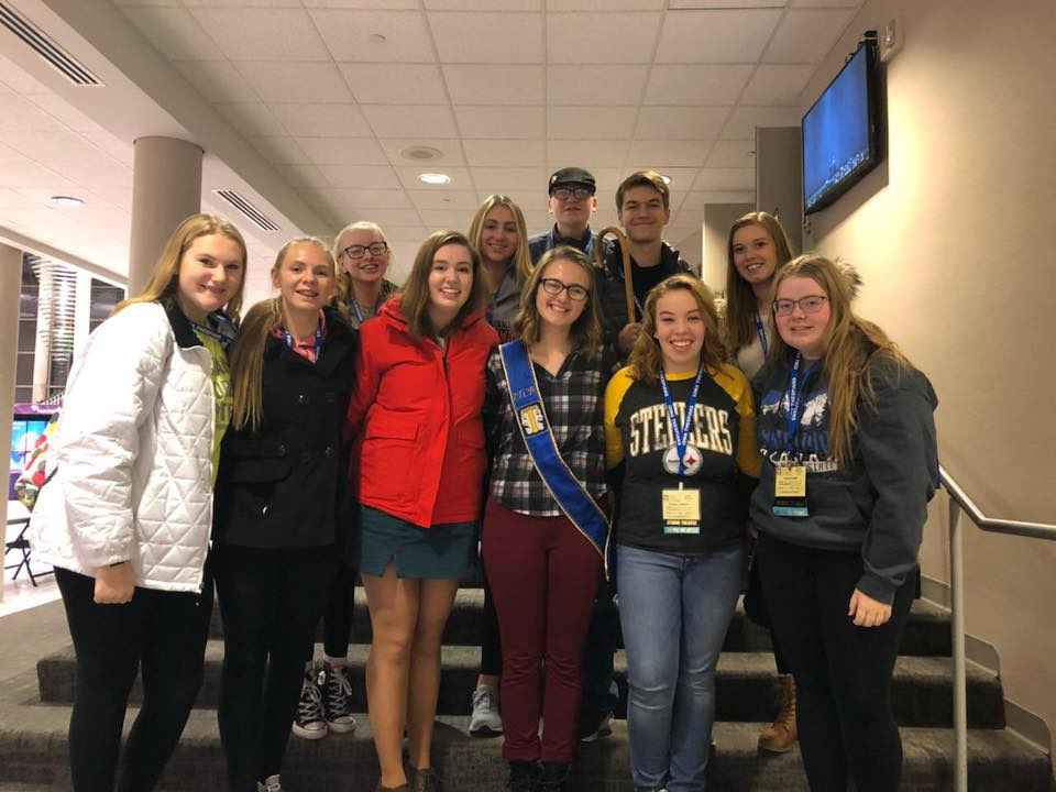 After Taylor Hammer was elected as an Iowa Student Thespian Officer, West Delaware Thespian students came together to take a group photo.   Front Row: Brooke Holtz, Emma Dunkel, Sheeley McMahon, Taylor Hammer, Melanie Loughren, Natalie Kehrli; Row 2: Jayden Werner, Camryn Borchardt, Tyler Salow, Amber Cook; Back Row: Laiken Blommers.