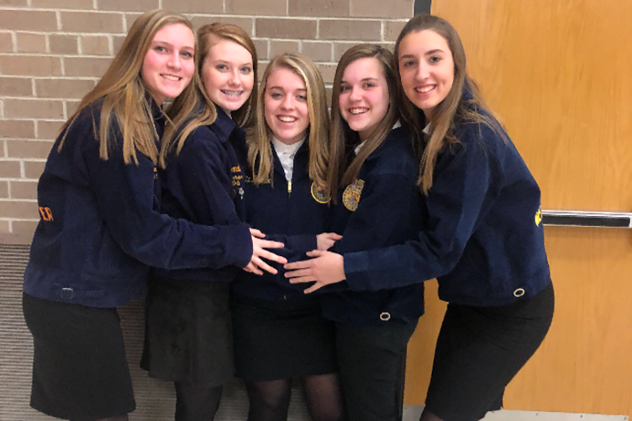 Freshmen Kailee Kaiser, Macie Putz, Olivia Hilby, Jenna Philipp, and Erin Hellmann pose for a picture after competing in the Greenhand Test at sub-districts.