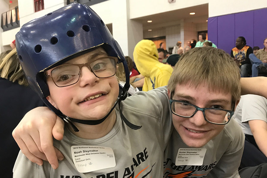 Brothers Noah and Hunter Slaymaker compete in the NE Iowa Basketball Skills Competition on Feb. 2.