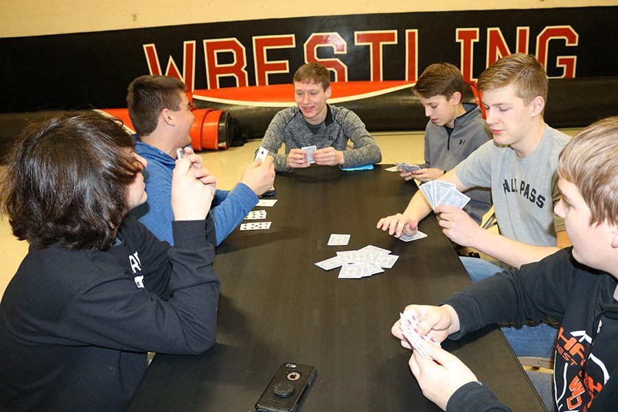 Sophomores Elias Tibbot, Ben Ries, Trace Rowley, Carter Klein, Eric Salow, and Gavin Tucker play a game of euchre at last year's Highway Dance and Game Night.