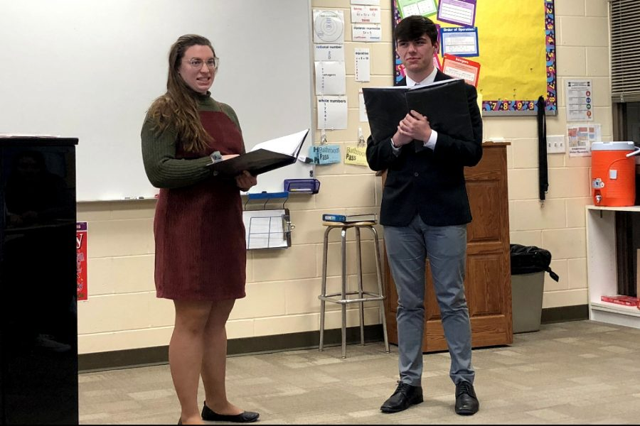 Seniors Olivia Neuzil and Justin Grawe perform a duet at the Solo and Ensemble competition held at Independence high School.