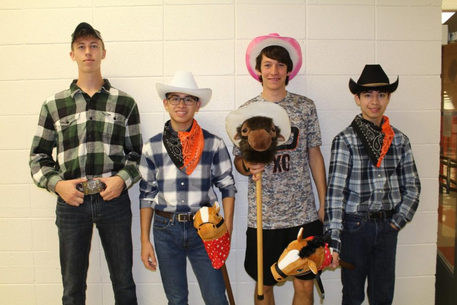 Wielding their cowboy hats and blue jeans, senior Mitchell Ungs, junior Andrew Salas, and seniors Nathan Goranson and Matthew Salas were more than equipped for Western Wednesday.