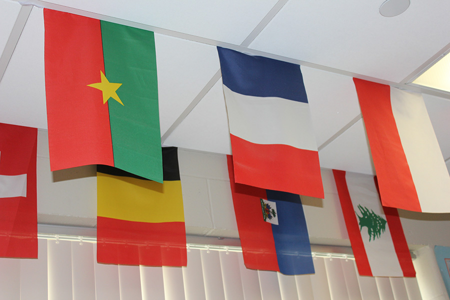 Flags of French-speaking countries line the ceiling of world language teacher Marianne Sandberg's room.
