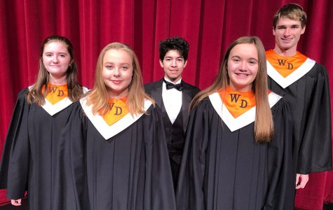 Denise Cherry (12), Kaylee Osterhaus (11), Matthew Salas (12), Anna Werner (11) and Grant Schneiders (12) represent West Delaware in their All State concert attire.