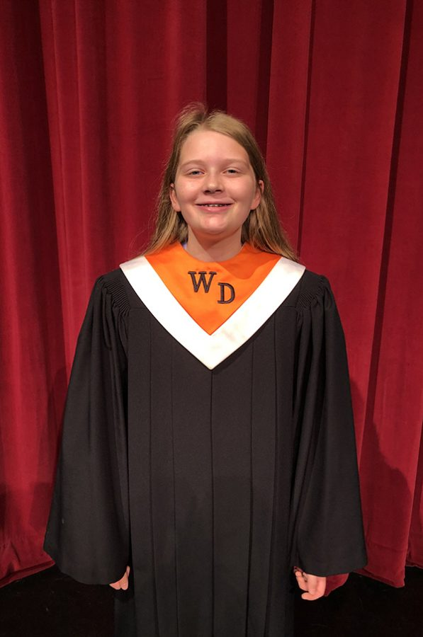Lauren Johnson (9) beams with pride because she was accepted into the Opus Honor Choir.