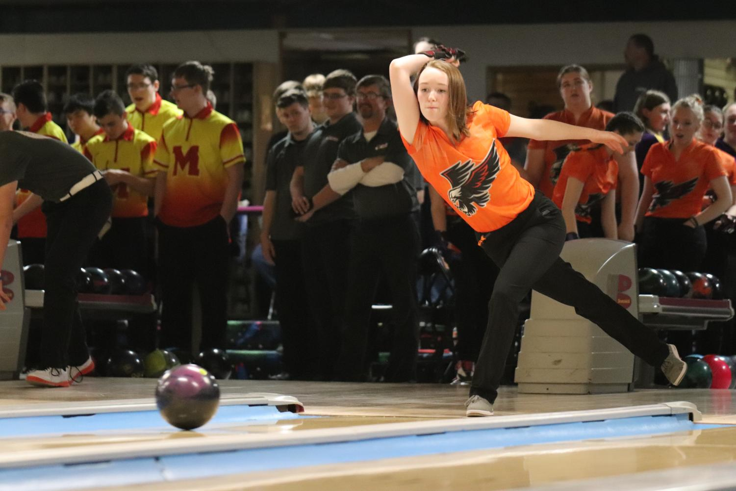 Hannah Axline (12) kicks off her senior season with a 385 series to help the Hawks win Friday's meet against Monticello.