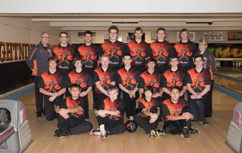 2019-2020 West Delaware boys bowling team poses for a group picture.