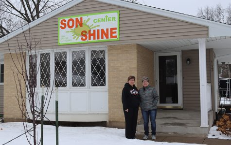 Darla Weber and Darla Gaskill stand outside of the Sonshine Center.