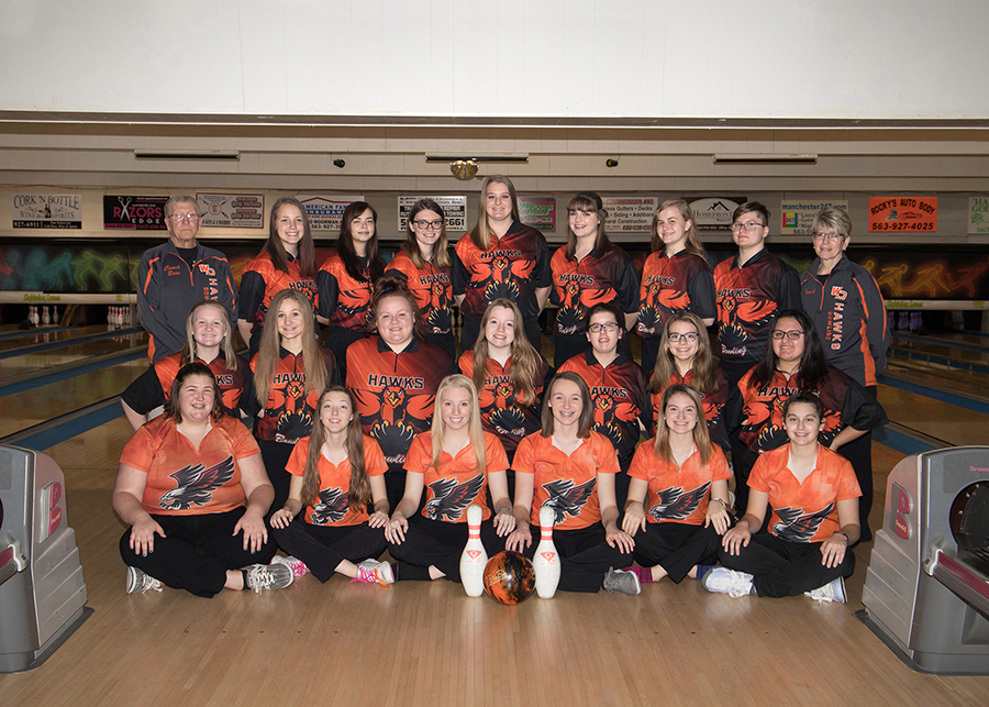Girls bowling team. Row 1: Kyleigh Marsden (11), Lacey Cole (12), Kaleah Griffin (12), Hannah Axline (12), Lorna Niedert (12) and Kaley Pettlon (12); Row 2: Lydia Heims (9), Alexus Riley (9), Madison Shontz (11), Jordan McDowell (9), Emma Massman (11), Christianna Maestas (9) and Jasmine Ibarra (9); Row 3: Ken Boesenberg, Katelyn Scott (9), Illiana Rohlf-Mcgraw (11), Kennedy Rees (11), Grace Reth (11), Regan Recker (11), Molly Mullis (11), Mary Pederson (11) and Sue Morris.