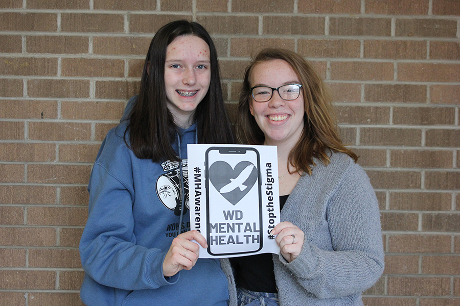 In+order+to+raise+awareness+for+mental+health%2C+juniors+Grace+Johnson+and+Melanie+Loughren+advertise+their+social+media+account.+They+currently+have+318+followers+on+Instagram.