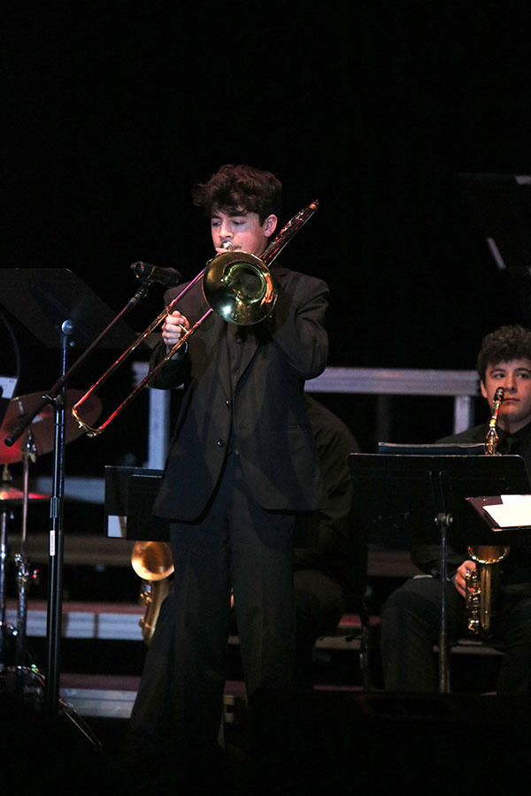 Matthew Salas plays a solo in Jazz Band II at Swing into Spring.