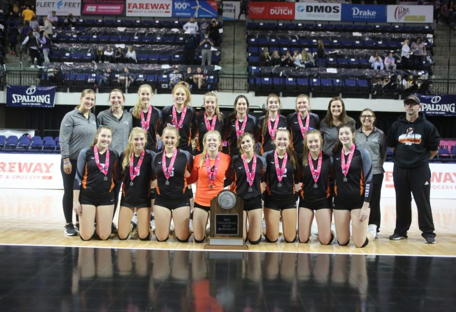 West Delaware's state runner-up volleyball team: front row: Claire Ridenour, Alivia Schulte, Aleah Heims, Ella Koloc, Juliette Weber, Kayla Felton, Gracie Lynch and Lexi Moyle; back row, Coach Cassie Vaske,  Coach Jennie Voss, Allie Demmer, Ava Hauser, Carlee Smith, Jaci Bries, Emily Prier, Maddie Hogan,  Coach Carlee Ketchum,  Coach Shea Putz and Coach Brett Mather.