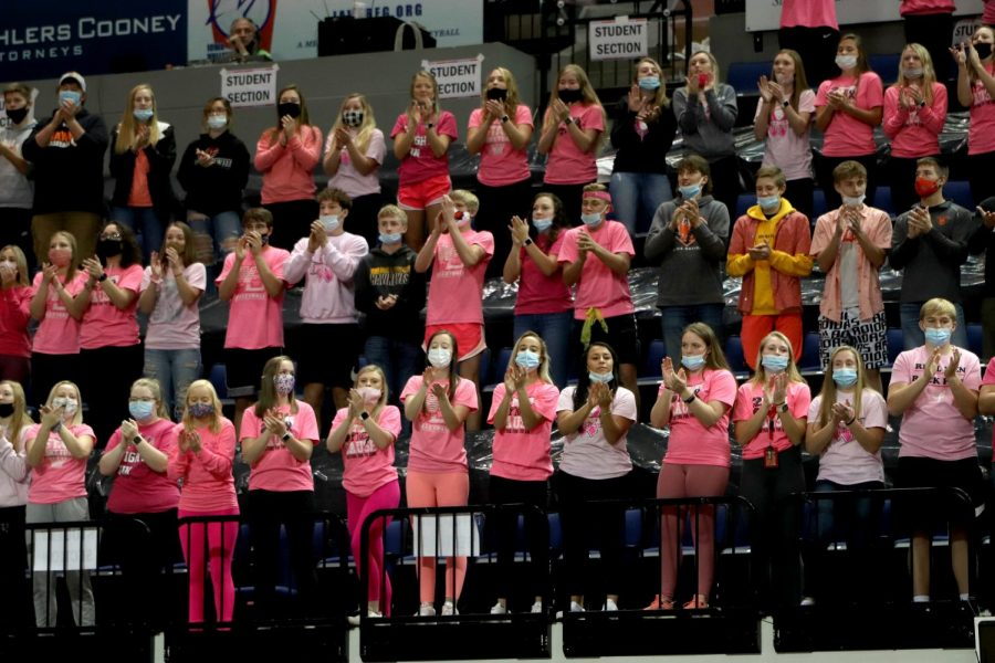 The West Delaware crowd cheers on the Hawk's volleyball team at state finals on Thursday, Nov. 5.