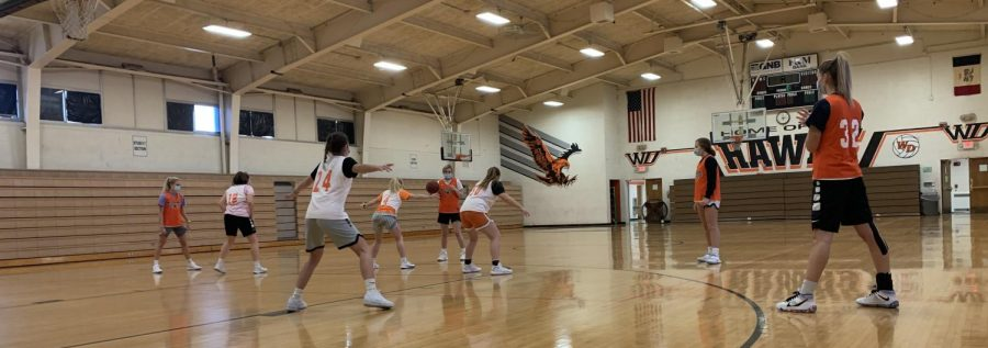 The girls basketball team practices their new offense in the upper gym.