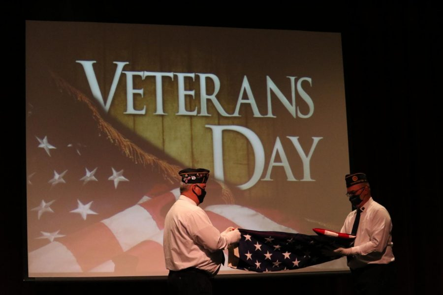 Members of The American Legion Post 45 perform the Flag Folding Ceremony at the Veterans Day Assembly.