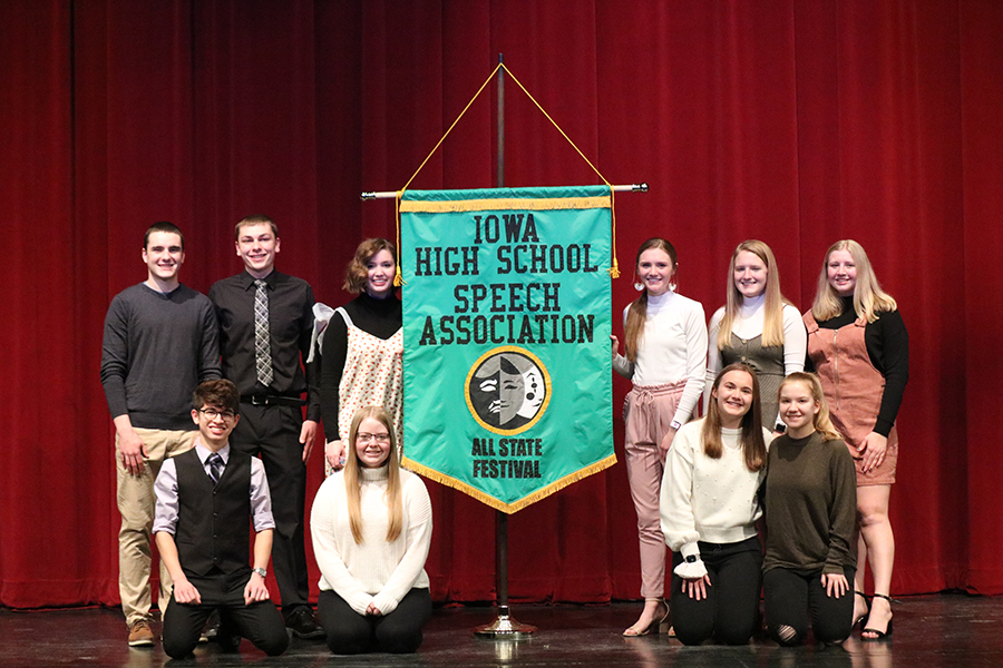All-State nominees: Front Row: Andrew Salas (12), Natalie Kehrli (12), Anna Werner (12), Karly Fisher (10); Back Row: Jacob Wenger (12), Nicholas Stocks (12), Sheeley McMahon (12), Maddie Hoeger (10), Faith Litterer (10), and Kelly Beckman (10).