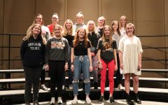 National Anthem Singers: Front Row: Lauren Johnson (10), Laney Robison (11), Liz Sleper (9), Maggie Millenkamp (11), Sheeley McMahon (12); Second Row: Grace Reth (12), Mikaila Neuzil (12), Kaylee Osterhaus (12), Becca Farmer (12); Back Row: Regan Recker (12), Grace Millenkamp (11), Anna Werner (12), Addie Reetz (12).