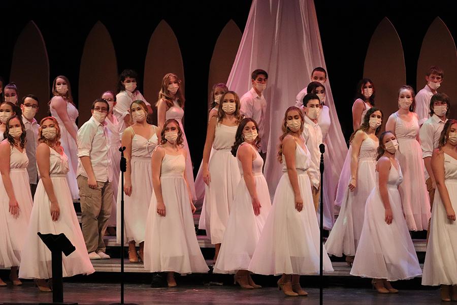 "Show choir ends the night with ""Come Sail Away."" Front Row: Morgan Collier, Mikaila Neuzil, Addison Reetz,  Anna Wenger, Camryn Borchardt, Lauren Hoefer, Kylie Pennington."