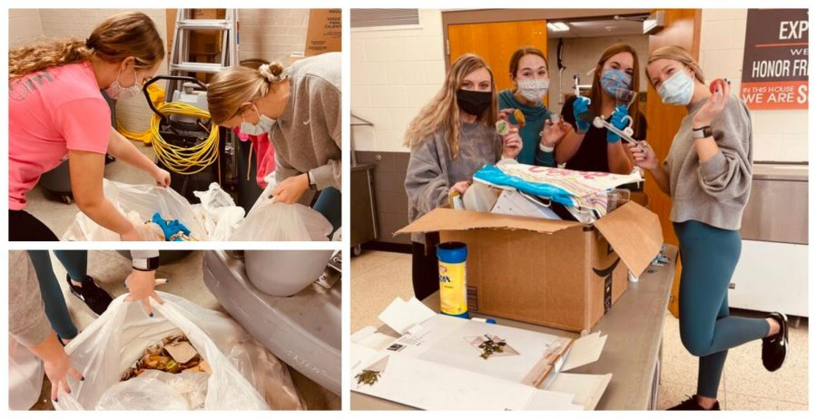 Junior Makayla Gasper and her friends, Karsyn Welcher (12), Laney Robinson (11), Anna Werner (12), and Alexis McTaggart (11), conduct a waste audit at the high school.